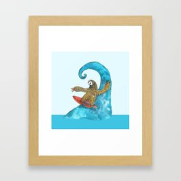 surfing sloth in the spring Framed Art Print