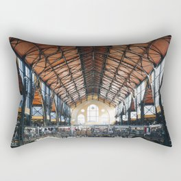 Photo of Rays of Sunlight in the Central Market Hall a beautiful Building, wonderful Architecture in Budapest, Hungary | Fine Art Colorful Travel Photography | Rectangular Pillow