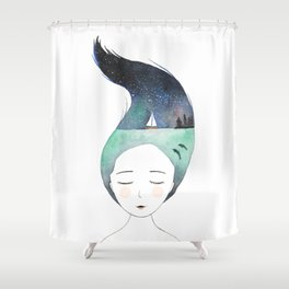 Dreaming about traveling the world Shower Curtain
