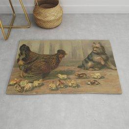 Vintage Chicken Farm and a Dog Illustration (1891) Rug