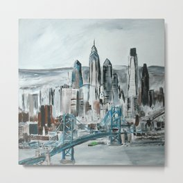 Philadelphia, Pennsylvania, USA Fine Art Acrylic Painting Metal Print