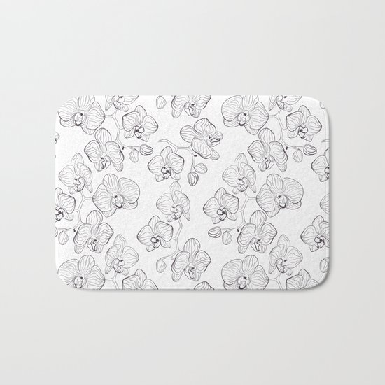 The White Orchid. Black and white pattern . Bath Mat