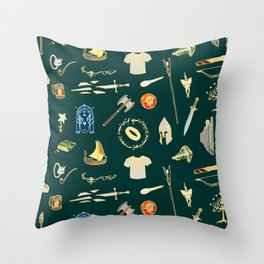 Lord of the pattern green Throw Pillow