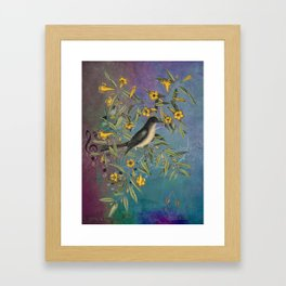 Flycatcher with Carolina Jasmine, Vintage Natural History and Botanical Framed Art Print