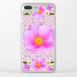 Pink on Pink Rose & Shasta Daisies Floral Abstract Clear iPhone Case