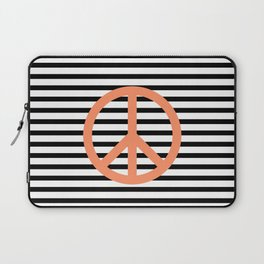 Peace sign in pink with black and white lines background Laptop Sleeve