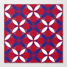 Geometric Floral Circles In Bold Red White & Blue Canvas Print