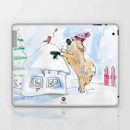 Winter Wonderland Tibbie in a Knitted Hat Enjoying the Snowy Day Laptop & iPad Skin