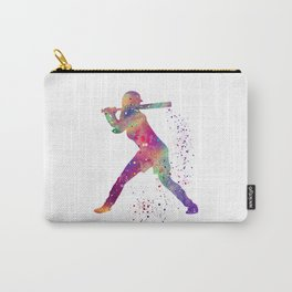 Girl Baseball Player Softball Batter Colorful Watercolor Art Carry-All Pouch