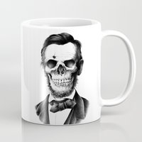 lincoln Mugs featuring Lincoln Skull by BIOWORKZ