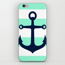 NAVY ANCHOR ON MINT iPhone Skin
