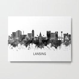 Lansing Michigan Skyline BW Metal Print