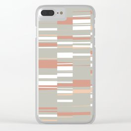 Mosaic Rectangles in Sage, Brick, Peach and White Clear iPhone Case