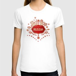"""Russia remembrance gift """"Welcome"""" invitation design travel T-shirt"""