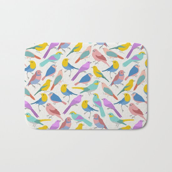 Dazzling Colored Bird Pattern Bath Mat