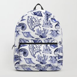 Vintage Nautical Illustrations in Blue Ink Backpack