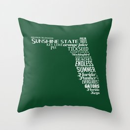 Florida State Love - Green Throw Pillow