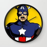 bucky Wall Clocks featuring bucky!cap by zombietonbo