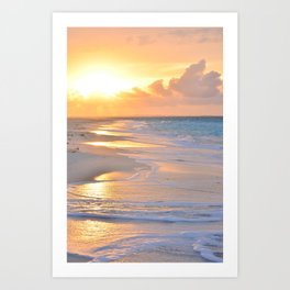 Foaming sea at the sunset - Turks and Caicos Islands - Fine Art Travel Photography Art Print