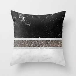 Black and White Marble Silver Glitter Stripe Glam #1 #minimal #decor #art #society6 Throw Pillow