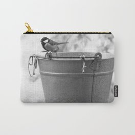 Songbird (Great Tit) on Autumn Day Black and White #decor #society6 #buyart Carry-All Pouch