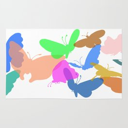 Colorful butterflies on white background Rug