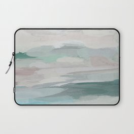 Sage Green Sky Blue Blush Pink Abstract Nature Sky Wall Art, Water Land Painting Print Laptop Sleeve