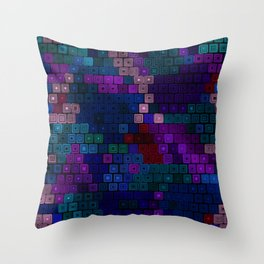 Dark colorful squares Throw Pillow