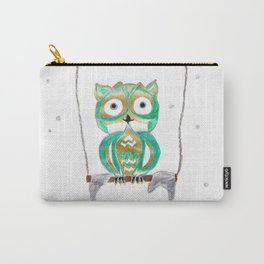 Owl Fun #1 #mint #green #gold #drawing #decor #art #society6 Carry-All Pouch