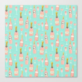 Rose champagne wine food fight apparel and gifts Canvas Print