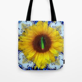 EMERALD GOLD BUG ON SUNFLOWER BUTTERFLY Tote Bag