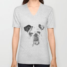 Portrait Of An American Bulldog In Black and White Unisex V-Neck