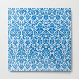 Blue Vintage Decorative Pattern Metal Print