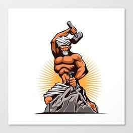 Sculptor Hammer Chisel Retro Canvas Print