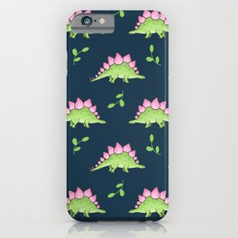 Green and Pink Stegosaurus Dinosaur on navy with leaves iPhone Case