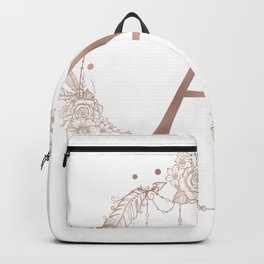 Letter A Rose Gold Pink Initial Monogram Backpack