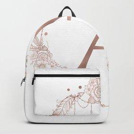 Letter A Rose Gold Pink Initial Monogram Backpack