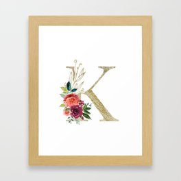 """K"" Initial, Monogram in Gold and Flowers Framed Art Print"