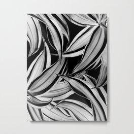 Dracaena Tropical Leaves Pattern Black & White #1 #tropical #decor #art #society6 Metal Print