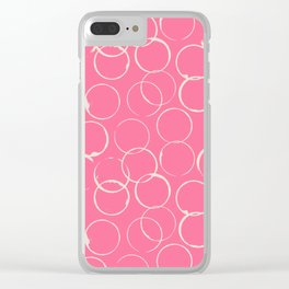 Circles Geometric Pattern Pink Antique White Clear iPhone Case