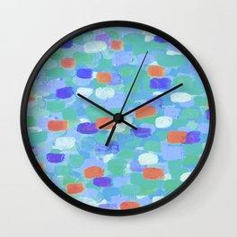 Blue & Orange Confetti Wall Clock