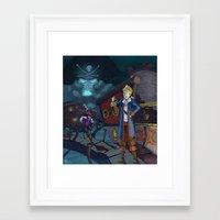 monkey island Framed Art Prints featuring Monkey Island - THINK by Gromy