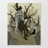 edgar allan poe Canvas Prints featuring Edgar Allan Poe by Abigail Larson