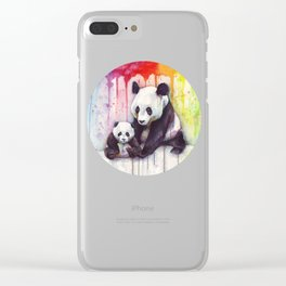 Rainbow Pandas Watercolor Mom and Baby Panda Nursery Art Clear iPhone Case