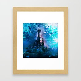Blue Grunge Fairytale Fantasy Castle Framed Art Print