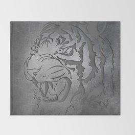 Metal Engraved Tiger Line art Throw Blanket