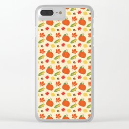 Country chic orange white polka dots halloween pumpkins Clear iPhone Case