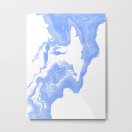 Inno - spilled ink abstract marble painting free water wave ocean swirl marbled paper texture indigo Metal Print
