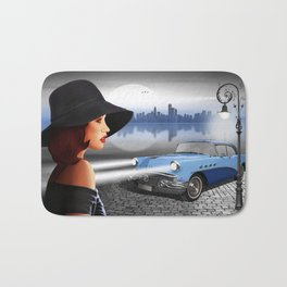 The beauty at night with vintage car Bath Mat