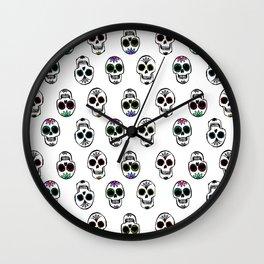 Sugar Skull Pattern on White Wall Clock